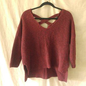 Dark Red Over-sized Knit Sweater Laced Back (S)
